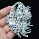 """3.5"""" Bridal Floral Flower Hair Comb Clear Rhinestone Crystals Wedding 4622FS"""
