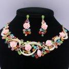 Fashion Acrylic Rose Mix Rhinestone Crystals Flower Necklace Earring Set 02677
