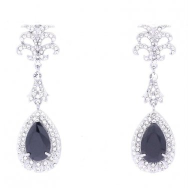 Stylish Black Zircon Clear Rhinestone Crystals Dangle Pierced Earrings 21256