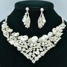 Brilliant Clear Rhinestone Crystals Drop Leaf Flower Necklace Earrings Set 00578