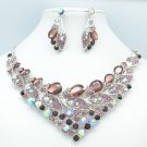 Showy Purple Rhinestone Crystals Drop Leaf Flower Necklace Earrings Set 00578