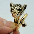 Trendy Gold Tone Black Enamel Leopard Panther Cocktail Ring Size 7# 15766