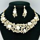 Clear Rhinestone Crystals White Acrylic Rose Wedding Necklace Earring Set 02677