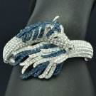 Trendy Animal Tail Horse Bracelet Bangle Cuff W/ Blue Rhinestone Crystals 20810