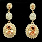 Brilliant Topaz Zircon Dangle Flower Rhinestone Crystals Pierced Earrings 20576