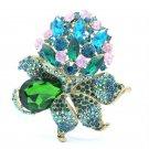 "Graceful Flower Bud Leaves Green Rhinestone Crystals Brooch Broach Pin 3.1"" 5851"