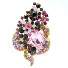 "Multicolor Rhinestone Crystals Floral Flower Brooch Broach Pin Jewelry 3.5"" 6023"
