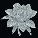 Exquisite Silver Tone Clear Rhinestone Crystals Lotus Flower Brooch Pin BT0182