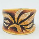 Gorgeous Enamel Leaf Flower Bracelet Bangle Topaz Rhinestone Crystals SKA1961M-1