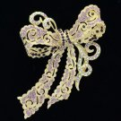 """Excellent Gold Tone Purple Bow Bowknot Brooch Pin 4.0"""" Rhinestone Crystals 5823"""