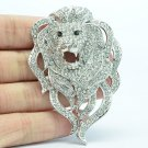 Vogue Roaring Animal Head Lion Brooch Pin With Clear Rhinestone Crystals FA3172