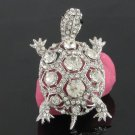 Exquisite Clear Turtle Tortoise Brooch Broach Pin With Rhinestone Crystals 3631