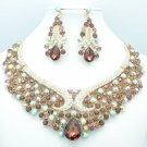 Blink Art Deco Flower Drop Necklace Earrings Set Purple Rhinestone Crystal 02759