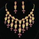 Chic Fuchsia Rhinestone Crystals Skeleton Skull Necklace Earrings Set Halloween
