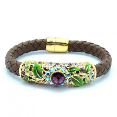 Swarovski Crystal Enamel Purple Flower Bracelet Party Green Leaf Leather SKA1904