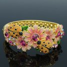 Colorful Rhinestone Crystals Flower Topaz Ladybug Bracelet Bangle SKCA1777M-1