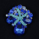 "Trendy Starfish Flower Pendant Brooch Pin 2.2"" Blue Rhinestone Crystals 4995"