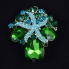 "Green Starfish Flower Pendant Brooch Broach Pin 2.2"" w/ Rhinestone Crystals 4995"