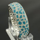 Exquisite Blue Panther Leopard Texture Bracelet Bangle With Rhinestone Crystals