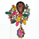 Rhinestone Crystals Women Multi-Color Drop Flower Brooch Broach Pin Pendant 6146