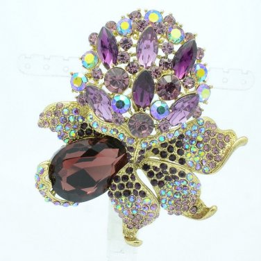 "Purple Rhinestone Crystals Pretty Leaves Flower Bud Pendant Brooch Pin 3.1"" 5851"