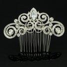 Dossy Clear Rhinestone Crystal Bridal Wedding Coil Flower Hair Comb Zircon 2306R