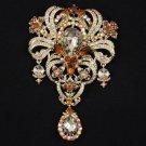 "Charming Women Big Teardrop Brown Flower Brooch Pin 5.1"" Rhinestone Crystal 4042"