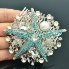 Pearl Blue Starfish Hair Comb Jewelry Rhinestone Crystals Bridal Wedding 6412