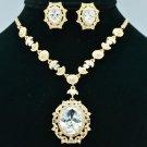 Gold Tone Wedding Zircon Flower Necklace Earring Sets Swarovski Crystals 685101