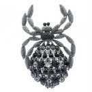 Vintage Style Spider Brooch Broach Pin w/ Jet Rhinestone Crystals 4792C9
