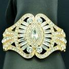 Dazzling Bridal Flower Bracelet Bangle Cuff Clear Rhinestone Crystal Prom 9734