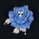 "Beautiful Blue Rhinestone Crystals Rose Flower Brooch Broach Pin 2.1"" FB1077"