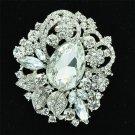 "Elegant Leaves Flower Clear Rhinestone Crystals Brooch Pin Jewelry 2.5"" 6173"