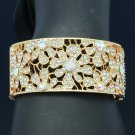 Charming Gold Tone Clear Rhinestone Crystals Flower Bracelet Prom Jewelry E8657B
