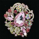 "Pretty Pink Rhinestone Crystals Leaves Flower Brooch Pin Jewelry 2.5"" 6173"