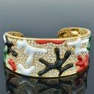 Colorful Coral Enamel Clear Rhinestone Crystals Bracelet Bangle Cuff SKA2033M-3