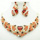 Flower Necklace Earring Set Red Rhinestone Crystals Women Jewelry For Party 6103