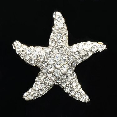 Rhinestone Crystals Clear Starfish Brooch Broach Scarf Pins Women Party FA0189