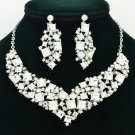 Beautiful Necklace Earring Set Clear Rhinestone Crystal Accessories Jewelry 6696