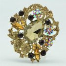 "Splendid Brown Rhinestone Crystals Leaves Flower Brooch Broach Pin 2.5"" 6173"