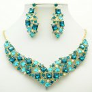 Cute Necklace Earring Set Rhinestone Crystals Women's Accessories Jewelry 6696