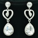 Bridal Bridesmaid Clear Rhinestone Crystals Teardrop Heart Pierced Earring 20653