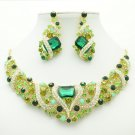 Gorgeous Flower Necklace Earring Set Green Rhinestone Crystal Women Jewelry 6103