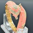 High Quality Pink Fox Bracelet Bangle Cuff W Enamel Clear Swarovski Crystals2073