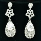 Clear Zircon Flower Water Drop Pierced Earring w/ Rhinestone Crystals 20602