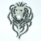 Trendy Roaring Animal Head Lion Brooch Pin With Black Rhinestone Crystals FA3172