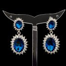 Women Art Deco Blue Dual Oval Pierced Dangle Earring Rhinestone Crystal 122115