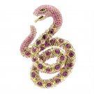 "Terrible Snake Brooch Broach Pin With Pink Rhinestone Crystals 3.1"" SBA4439"