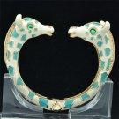 Tough Blue Enamel Rhinestone Crystals 2 Giraffe Bracelet Bangle Cuff L1074