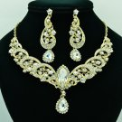 Dazzling Clear Rainbow Rhinestone Crystals Flower Necklace Earrings Sets 6471